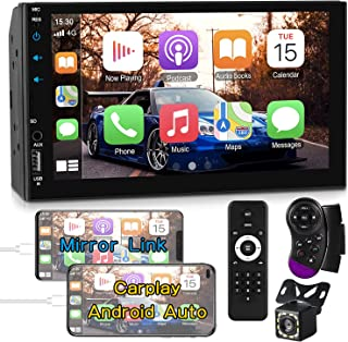 $89 » Double Din Car Stereo Compatible with Apple Carplay&Android Auto,7 Inch Full HD Capacitive Touchscreen Car Multimedia Play...