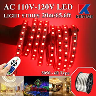 KERTME 5050-60 Type AC 110-120V Red LED Strip Lights, Flexible/Waterproof/Dimmable/Multi-Modes LED Rope Light + 23 Keys Remote for Home/Garden/Building Decoration (65.6ft/20m, Red)