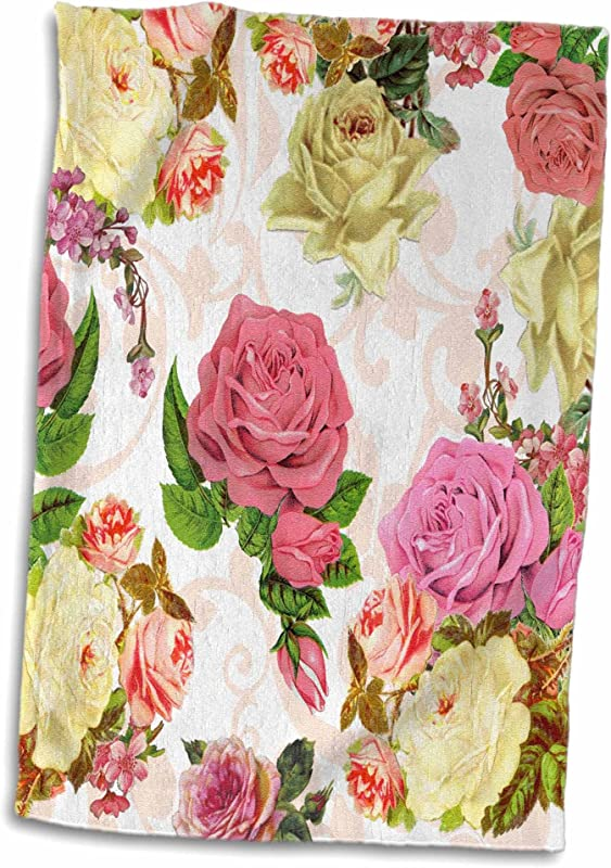 3D Rose Vintage Pink And White Roses Flowers With Peach Swirls Pretty Antique Floral Pattern Flowery Towel 15 X 22 Multicolor