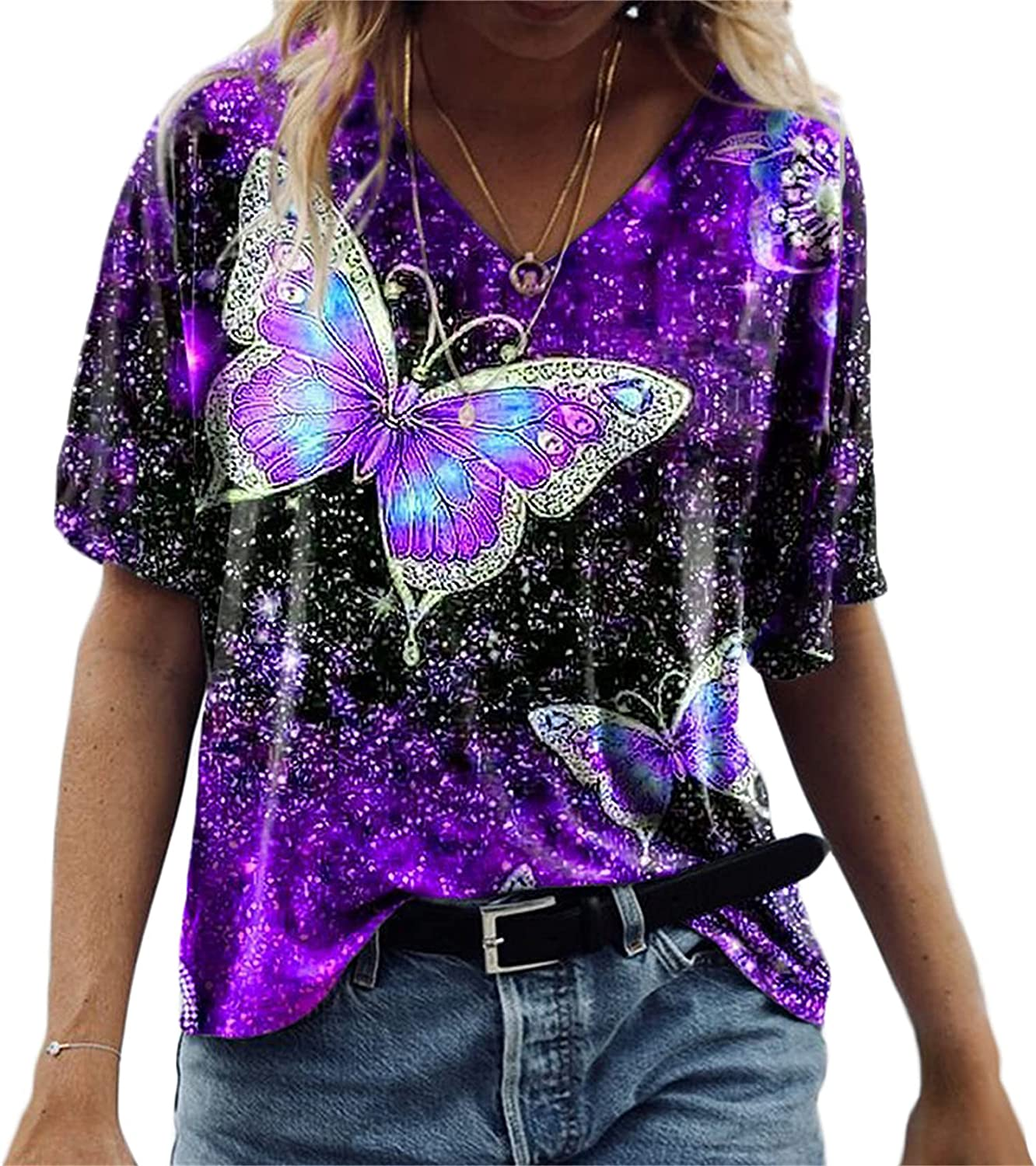 Andongnywell Womens Five-Point Sleeve Floral Butterfly Print Tunic Tops Casual Loose Fitting Shirts Blouses Tunics