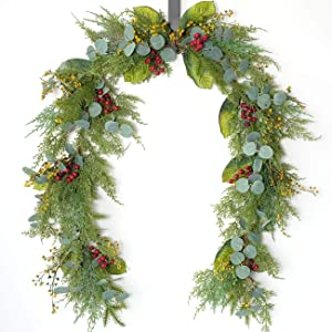 idyllic 6FT Christmas Garland, Long Hanging Garland for Wall and Home Decoration