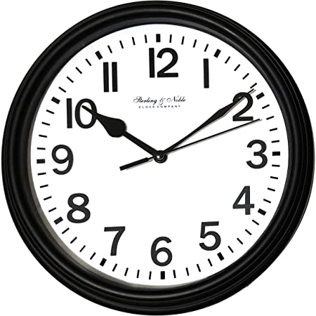 Mainstays Sterling Noble Wall Clock Black Home Kitchen
