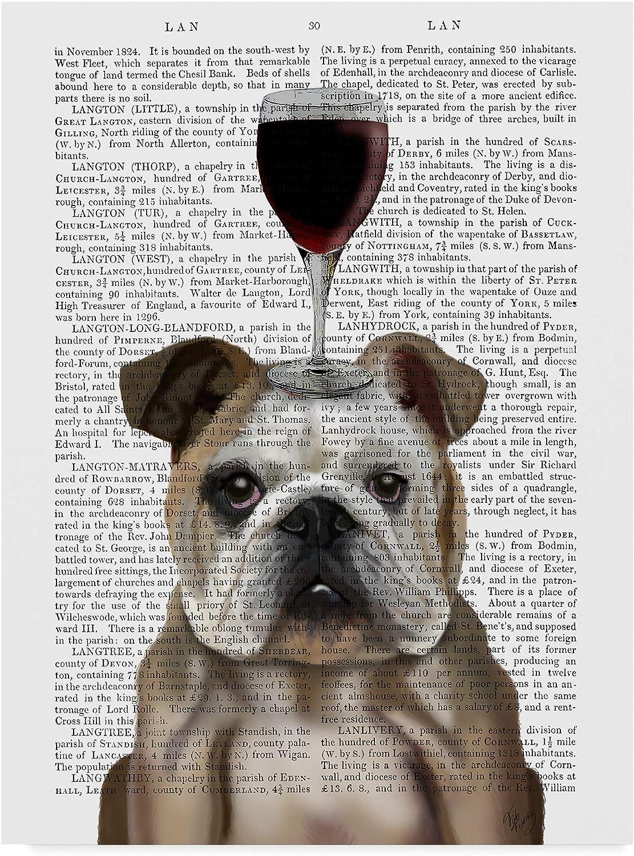 Trademark Fine Art Dog Au Vin, English Bulldog On Text Art by Fab Funky, 14x19