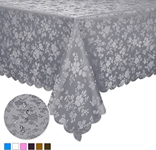 "Locika Washable Vinyl Tablecloth Easy Care Dinning Tablecloth Rectangle Heavy Duty Plastic Tablecloth Waterproof Spillproof Tablecloth for Indoor and Outdoor Use (Grey, 60"" X 84"" Rectangle/Oblong)"