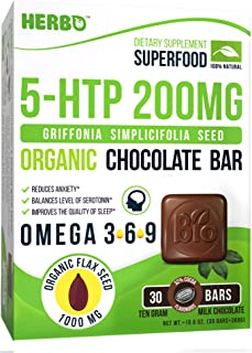 Herbo Superfood 5-HTP 200 mg Griffonia Simplicifolia Seed Extract in Organic Milk Chocolate - Supplement for Mood and Relaxation - Anxiety and Stress Relief, Help Sleep - Non-GMO, Gluten Free