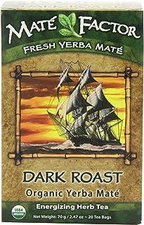 The Mate Factor Yerba Mate Energizing Herb Tea, Dark Roast, 20 Tea Bags (Pack of 3)