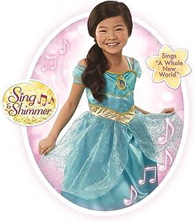 Disney Princess Jasmine Sing & Shimmer Dress, 1 Piece, Size: 4-6X, Turquoise [Amazon Exclusive]