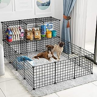 Rness Pet Playpen, Portable Pet Playpen Metal,Double Storey Pet Villa,With storage function (store pet supplies), Pet Cage...