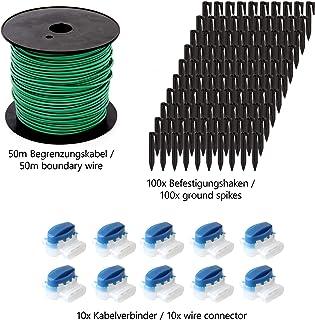 ECENCE Set de accesorios y reparación para robot cortacésped, 50m el cable delimitador + 10x conector + 100x gancho, universal para todos los modelos