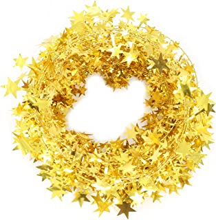 Vesil Christmas Decorations Gold Star Wire Garland - 25 Ft X 2