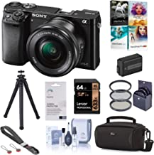Sony Alpha a6000 Mirrorless Digital Camera 24.3MP (Black) with 16-50mm Lens (ILCE6000L/B), Essential Bundle with Bag, Battery, Filter Kit, UFO 2 Tripod, 64GB SD Card, Wrist Strap and Accessories