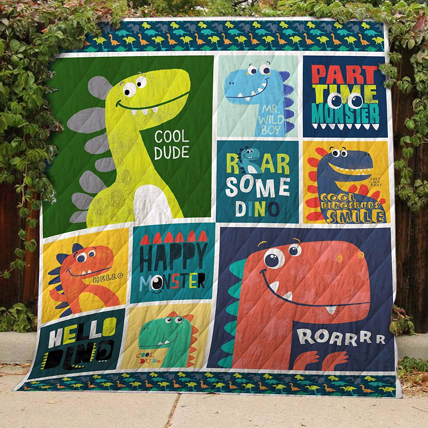 T-rex Quilt TH402, Queen All-Season Quilts Comforters with Reversible Cotton King Queen Twin Size - Best Decorative Quilts-Unique Quilted for Gifts