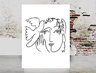 Fashion wall art poster print Dove Of Peace Woman Face