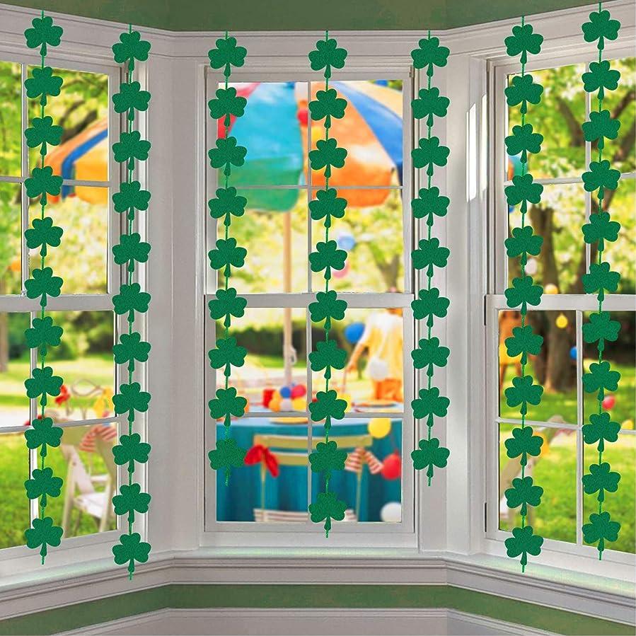 Felt Shamrock Clover Garland Banner - No DIY Needed, 72Pcs - St Patricks Day Hanging Garland Decorations - Irish Party Supplies
