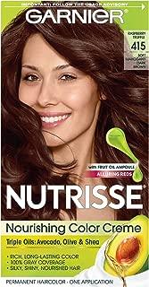 Garnier Nutrisse Nourishing Hair Color Creme, 415 Soft Mahogany Dark Brown (Raspberry Truffle) (Packaging May Vary)