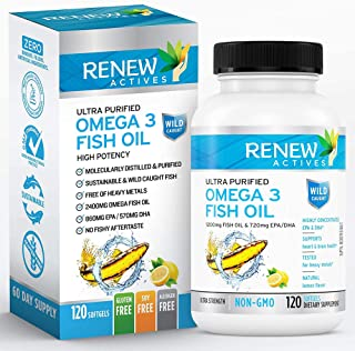 Renew Actives Omega-3 Fish Oil: 1200 Mg Purified Nordic Fish Oils with 720 Mg Omega3 Pills - Wild Caught Fi...