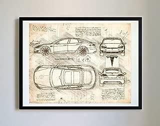 DolanPaperCo #226 Tesla Model S 2016 Art Print, da Vinci Sketch – Unframed – Multiple Size/Color Options (11x14, Vintage)