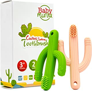 Baby Munka Cactus Infant Teether Soft Baby Training Toothbrush Silicone Flexible (2-Pack) 1-Green 1-Peach 100% BPA-Free