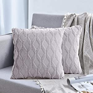 Macochico Set of 2 Plush Short Wool Velvet Decorative Throw Pillows Covers Boho Throw Pillow Case Cushion Cover Square Cushion Case for Sofa Bed Home Decor, Light Grey, 18 x 18 inches