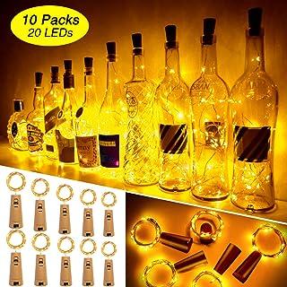 Luces Para Botellas, Ariceleo 10 Piezas 2 Metros 20 LED Cobre Alambre Luces Led para Botellas con Pilas, Corcho Lamparas Cadena Luz de Botella Decorativas Para Fiesta Boda Navidad DIY (Cálido Blanco)