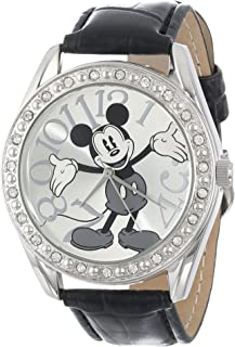 Unisex MK1015 Mickey Mouse Silver Dial Black Crocodile Strap Watch