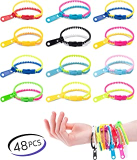 UpBrands Friendship Fidget Zipper Bracelets 7.5 Inches Sensory Toys Bulk Set, Neon Colors, Birthday Kit, Party Favors for Kids,, Easter Basket Stuffers, Pinata & Treat Bags Filler