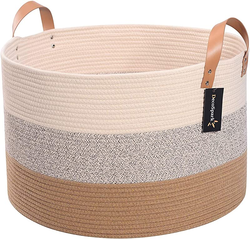 Decospark XXXL Extra Large Cotton Rope Basket For Toy And Blanket Storage 21 7 X 13 8 Woven Bin With Soft Long Handles Decorative Home Organizer Ideal For Living Room Baby Clothes And Laundry