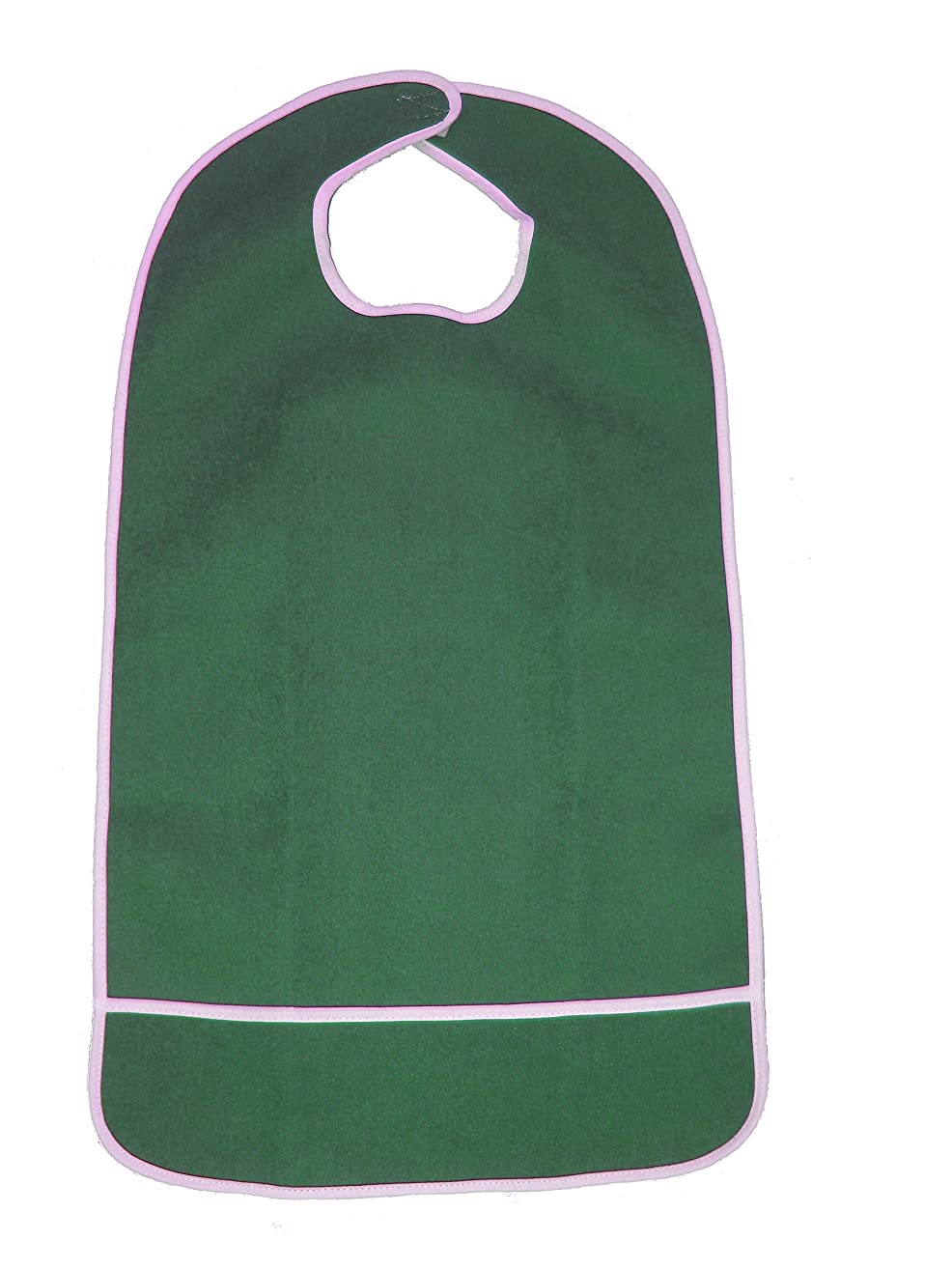 FlexaMed Waterproof Terry Cloth Adult Bib w/Closure and Crumb Catcher (Hunter Green - 16