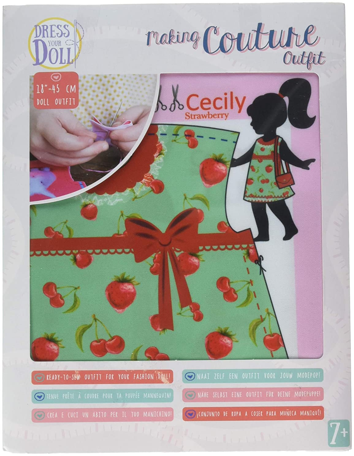 Vervaco Cecily Strawberry Dress Your Doll Making Couture Outfit Set