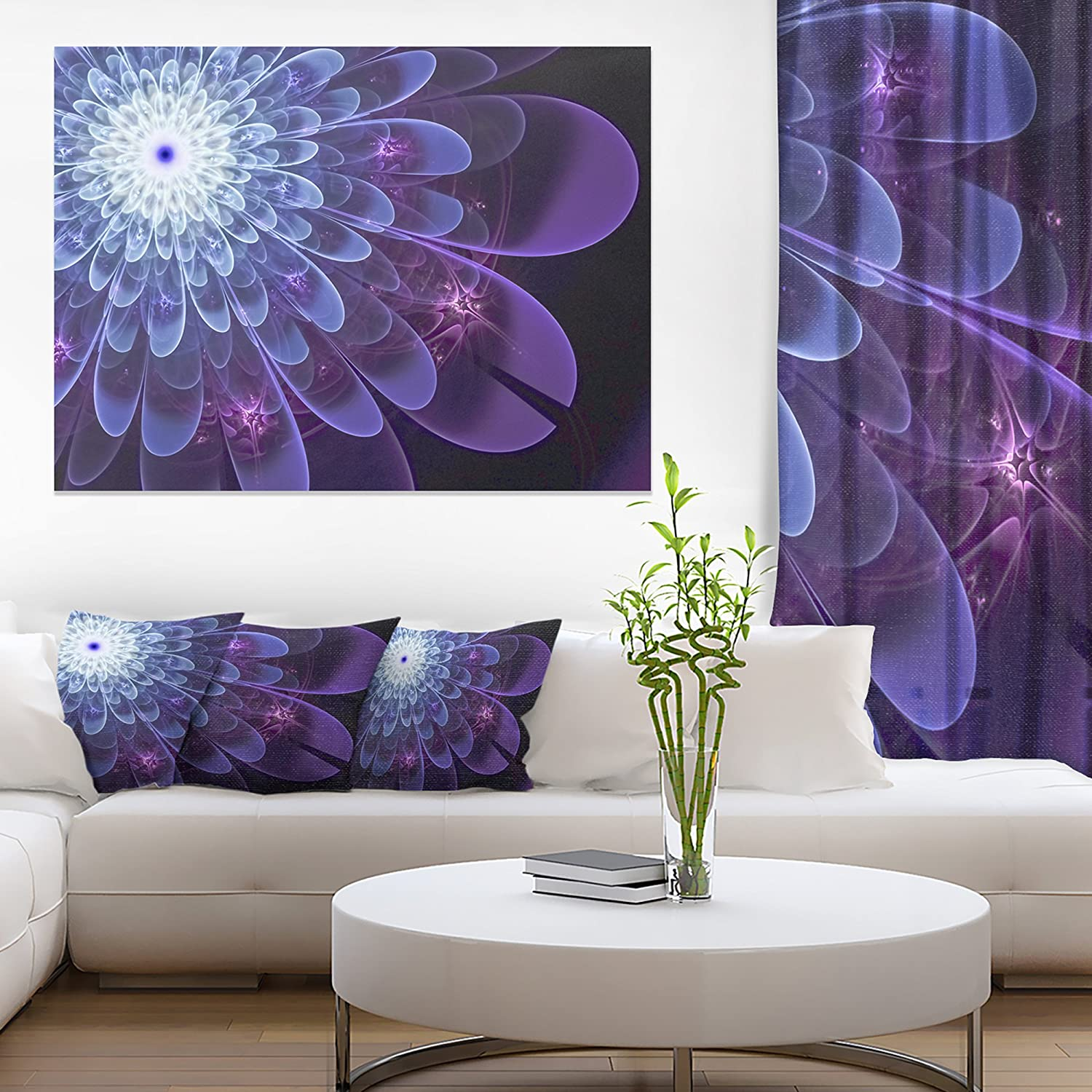 Designart PT121562012 Fractal Flower Petals CloseUp Floral Canvas Artwork Print, Purple, 20x12