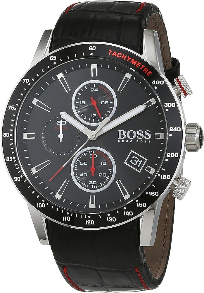 Hugo boss, orologio da uomo, in acciaio e cinturino in vera pelle 1513390
