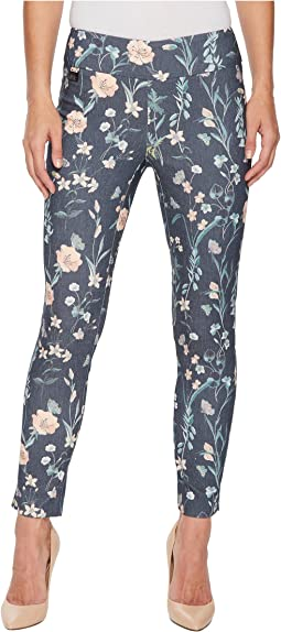 Japanese Garden Print Slim Ankle Pants