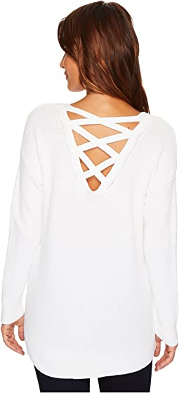 Tribal - Long Sleeve Combed Cotton Sweater w/ Lace-Up Back Detail
