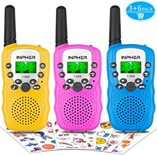 Inpher 3 Pack Walkie Talkies Bonus Kids Temporary Tattoos, 22 Channels 2 Way Radio Toy with Backlit LCD Flashlight, 3 Miles Range for Kids, Outdoor Adventures, Camping, Hiking