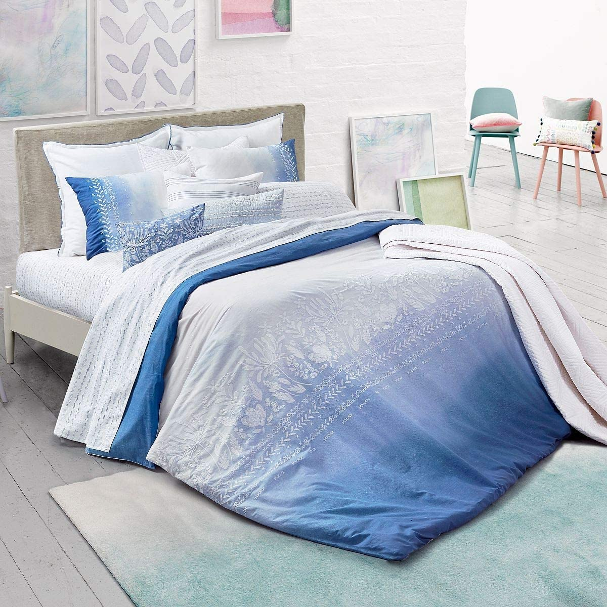 Bluebellgray NEW before selling ☆ Paintbox Nashville-Davidson Mall Embroidered Duvet Cover Twin Set XL