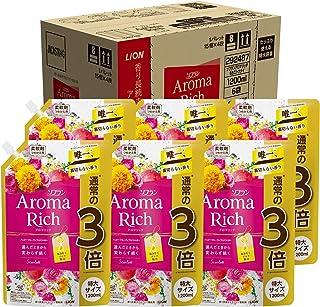 【ケース販売 大容量】ソフラン アロマリッチ スカーレット(ハッピーフルーティアロマの香り) 柔軟剤 詰め替え 特大1200ml×6個セット
