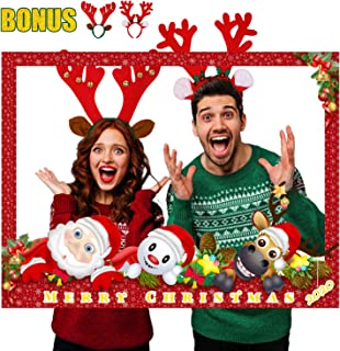 SEVENS Christmas Photo Booth Prop Frame Kit with Two Deer Hairbands, Xmas, New Year Party Decorations,Christmas Party Frame
