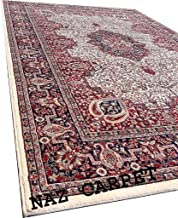 Naz Carpet Kashmiri Traditional Woollen Carpet with Advanced 1 Inch Thickness & Classical Look 180x275cm (6x9 Feet) Color Ivory