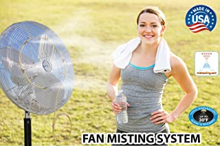 Fan Mist Kit for Outdoor Cooling - Low Pressure Fan Misting System - Brass/Stainless Steel Misting Nozzles