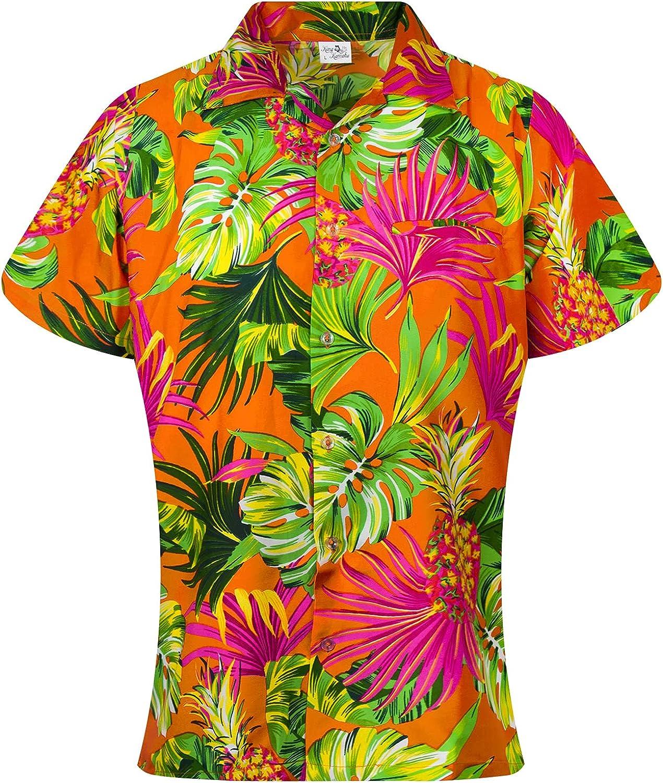 KING KAMEHA Funky Hawaiian Blouse Shirt, Shortsleeve, Print Pineapple Leaves, Orange, S