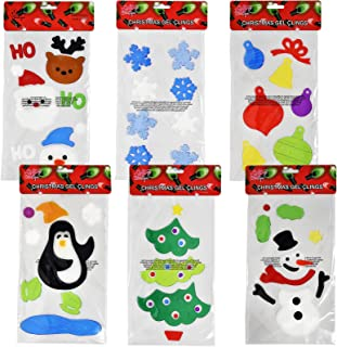 Gift Boutique 6 Christmas Window Gel Clings Happy Holiday Sticker Decal Decorations Includes Santa Snowman Winter Snowflakes Reindeer & Tree Ornaments For Seasonal Classroom Party Supplies Accessories