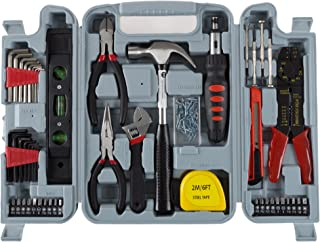 Household Hand Tools, 130 Piece Tool Set by Stalwart, Set Includes – Hammer, Wrench..