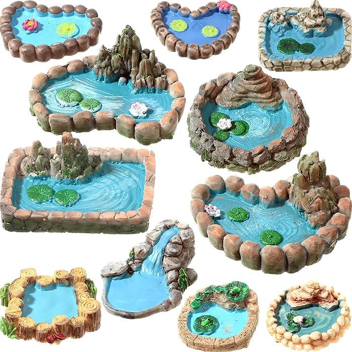 11 Pieces Fairy Garden Accessories Outdoor Decorations Miniature Pond Kit Fairy Garden Pond Mini Fairy Garden Figurine Yard Lawn Ornaments for DIY Home Micro Moss Landscape Supplies
