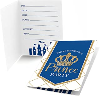 Big Dot of Happiness Royal Prince Charming - Fill in Baby Shower or Birthday Party Invitations (8 Count)