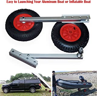 Seamax EZ Load Boat Launching Wheels Set for Inflatable Boat & Aluminum Boat, with 12 Pneumatic Tire & 2 Height Position