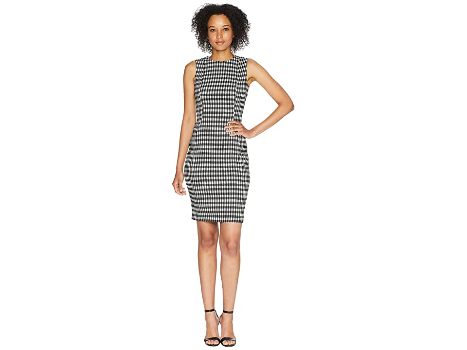 Calvin Klein Check Print Compressions Sheath Dress CD8E5923 (Black/Cream) Women