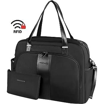 """KROSER Laptop Tote Bag 15.6"""" Stylish Shoulder Bag Water-Repellent Large Travel Bag with RFID Pockets for Work/Business/School/College/Women-Black"""