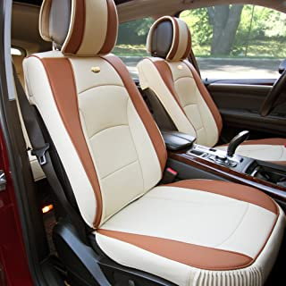 FH Group PU205102 Ultra Comfort Leatherette Front Seat Cushions, Beige/Tan Color- Fit Most Car, Truck, SUV, or Van