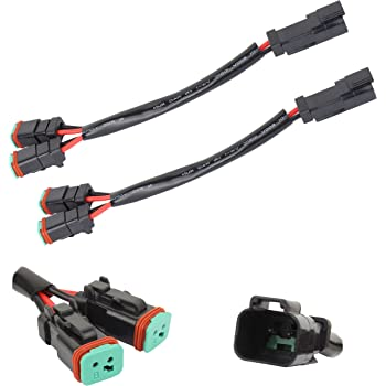 TOMALL 2 Leads Deutsch DT DTP 2 pin Socket Adapter for LED Work Light Retrofit Connectors Wiring Harness