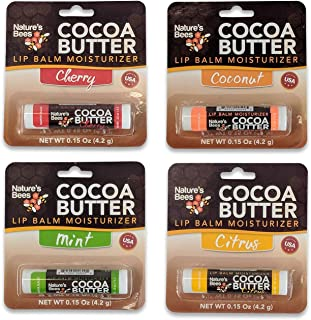 Nature's Bees Cocoa Butter Lip Balm Moisturizer 4 Pack (Asst Tropical)